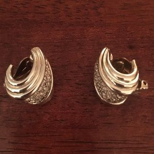 Vintage Studded Silver Clip On Earrings